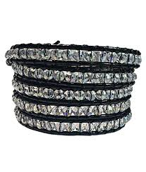 crystal wrap bracelet images Black leather white crystal wrap bracelet emily larosa jpg