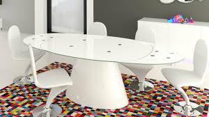 table ovale avec rallonge table de salle à manger moderne en verre macaria mobilier moss