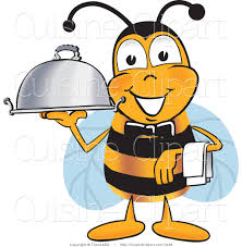 cuisine clipart of a happy bee mascot cartoon character dressed as