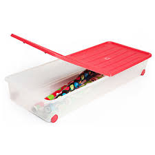 bed storage container on wheels hinged lid for easy access
