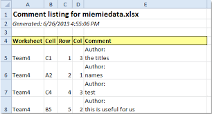how to list all comments to a new worksheet or workbook in excel