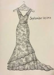 drawn wedding gown pencil and in color drawn wedding gown