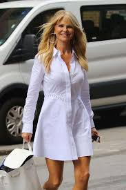 christie brinkley brinkley in white dress out in york