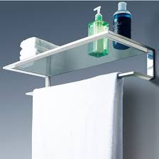 Bathroom Glass Shelves With Towel Bar Cool Line Platinum Collection Bathroom Glass Shelf With Towel Bar