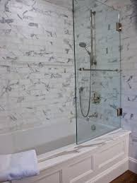 bathtub glass door from houzz com love this tub shower combo for limited space