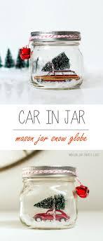 car in jar snow globe jar crafts