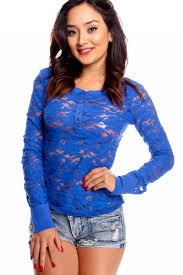 royal blue blouse top royal blue sleeve lace button dressy top dressy tops