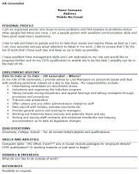 Sample Hr Generalist Resume by Hr Generalist Cv Example Icover Org Uk