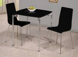 Round Glass Dining Table With Wooden Legs Furniture Black Dining Table With Two Chair Using Steel Base And
