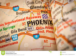 Phoenix Road Map by Phoenix City On A Road Map Stock Photo Image 42985336