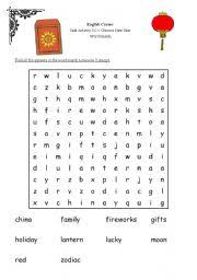 english worksheets chinese new year word search