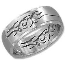 silver steel rings images Stainless steel cut out tribal ring just men 39 s rings jpg