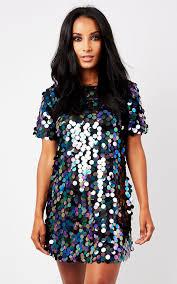 sequin dress black disk sequin t shirt dress silkfred