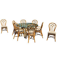 gorgeous mcguire dining set bamboo rattan brass signed table and