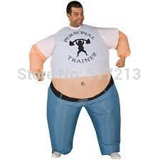 inflatable personal trainer costume strong man inflatable fat