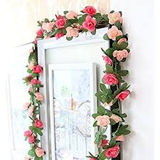 Artificial Flower Decorations For Home Amazon Com Artificial Rose Garland Silk Flower Vine For Valentine