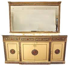 7ft wide gold cream neoclassical buffet sideboard server w marble