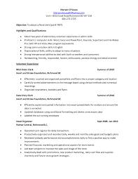 Mailroom Clerk Job Description Resume by Mailroom Clerk Resume Sample Free Resume Example And Writing