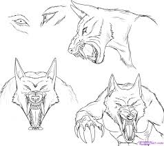 how to draw a werewolf face head eyes step by step werewolves