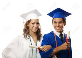 college cap and gown and college graduates in cap and gown with diploma