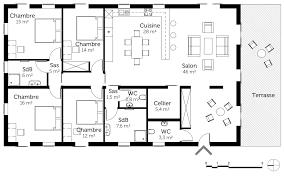 plan de maison plain pied 2 chambres beau plan maison de plain avec