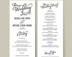 wedding reception programs wedding reception program template template design