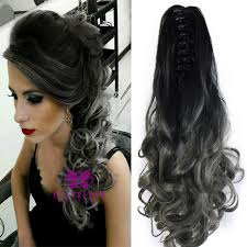 hair styles in two ponies 20 synthetic claw ponytail clip in on hair extensions wavy curly