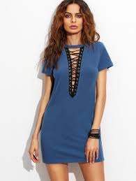royal blue lace up front short sleeve sheath dress shein sheinside