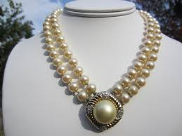 large pearl necklace images Vintage double strand faux pearl necklace with gold tone medallion jpg