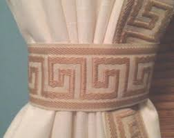 Brown And Ivory Curtains Greek Key Curtain Etsy