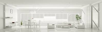 white home interiors modern home interior of white apartment panorama 3d render stock