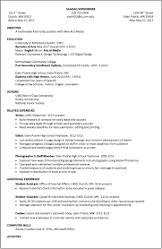 Resume Examples For College by Resume Examples Umd