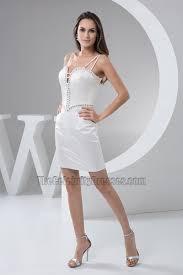 white spaghetti straps cocktail party dresses