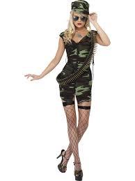 Military Halloween Costumes Women Ladies Army Fancy Dress Combat Military Uniform Costume