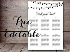free editable wedding seating chart template printable night