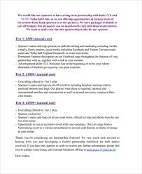 club sponsorship proposal templates 8 free word pdf format
