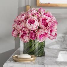artificial floral arrangements faux magenta pink peony floral arrangement in glass vase