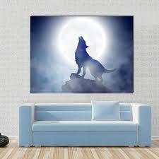 wolf howling on moon panel painting tiaracle