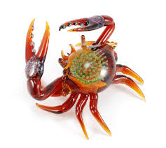 Home Sculptures Exotic Crab Sculpture In Amber Jeremy Sinkus Art Glass Sculpture