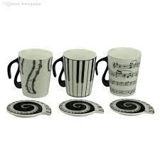 wholesale music cup mug staff notes piano keyboard ceramic cup