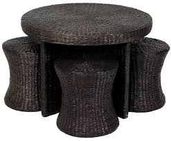 Seagrass Storage Ottoman Coffee Tables Appealing Rattan Coffee Table With Stools Design