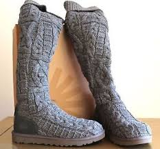 womens ugg knit boots buy ugg the knee twisted cable boots 3174 charcoal sz