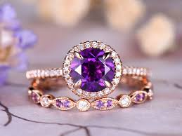 amethyst gold rings images 7mm round cut amethyst engagement ring set marquise dianond jpg