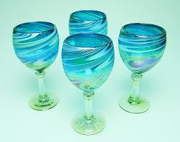 amazon com wine glasses hand blown glass turquoise u0026 white