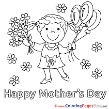 bouquet daughter flowers balloons coloring pages mother u0027s day for free