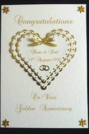 50th wedding anniversary greetings 50th golden wedding anniversary card personalised handmade ebay