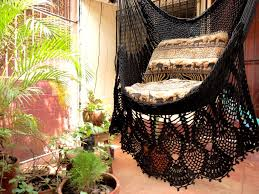 Hammock Hanging Chair Black Sitting Hammock Hanging Chair Natural Cotton And Wood