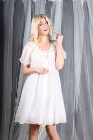 nightgown peignoir 1950s vintage 50s white bridal chiffon pin up s
