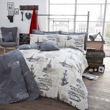 paris memories bedding full queen king duvet cover set black white