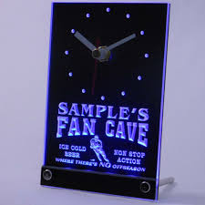 personalized custom hockey fan cave bar led table clock blue name